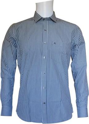 Ardeur Men's Striped Formal Grey, White Shirt