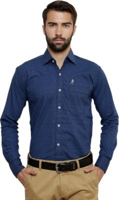 Ebry Men's Printed Formal Blue Shirt