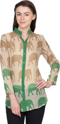 Famous by Payal Kapoor Women's Animal Print Casual Green Shirt