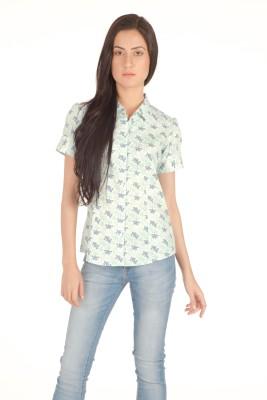 Miss Rich Women's Printed Casual Light Green Shirt