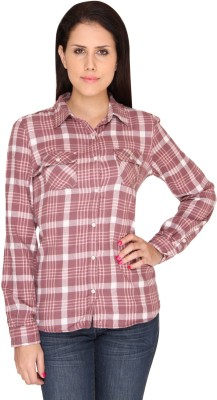 Bedazzle Women's Checkered Casual Brown Shirt