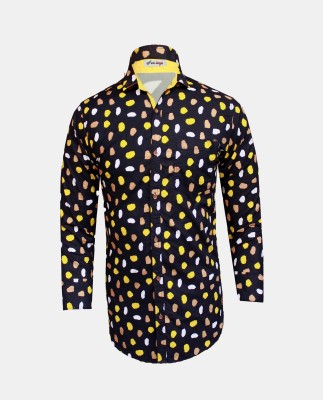 Yzade Men's Printed Casual Yellow Shirt