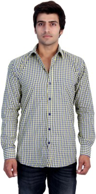 25th R Men,s Checkered Casual Yellow Shirt