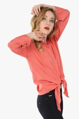Pink Lace Women's Solid Casual Orange Shirt