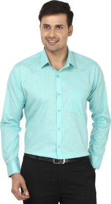 Edinwolf Men's Solid Formal Linen Green Shirt