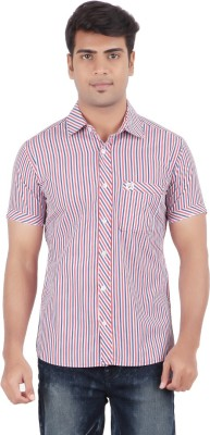 Anytime Men's Striped Casual Pink, Grey Shirt