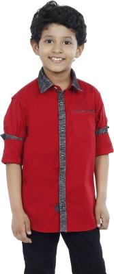OKS Boys Boy's Solid Casual Maroon Shirt