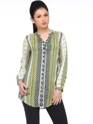 Zaivaa Women's Printed Casual Green Shirt