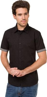 Mode Manor Men's Printed Casual Black Shirt