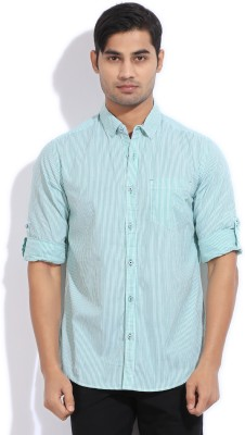 The Indian Garage Co. Men,s Striped Casual Green Shirt