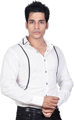 Sttoffa Men's Solid Formal White, Black Shirt