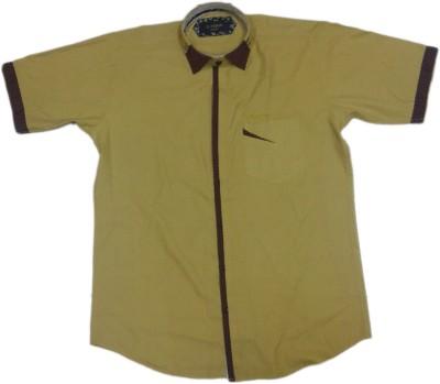 rc Men's Self Design Casual Yellow Shirt