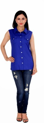 Damsel Women's Solid Casual Blue Shirt