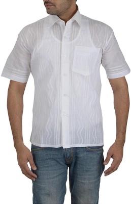 Sai Chikan Men's Embroidered Casual White Shirt
