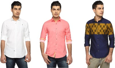 Marc N, Park Men's Solid Casual Multicolor Shirt