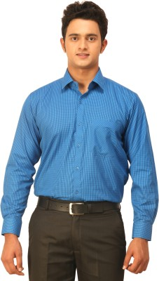 Seven Days Men's Checkered Formal Dark Blue Shirt