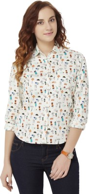 Chumbak Women's Printed Casual White Shirt