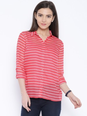 Silly People Women's Striped Casual Pink Shirt