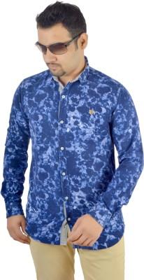 MTN Men's Printed Casual Blue Shirt