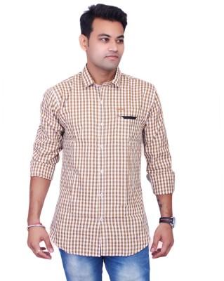 La Milano Men's Checkered Casual Beige Shirt