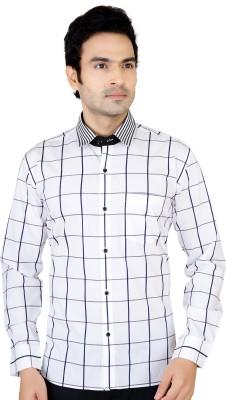 X-Secret Men's Self Design Formal White Shirt