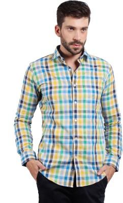 SOLEMIO Men's Checkered Casual Yellow Shirt
