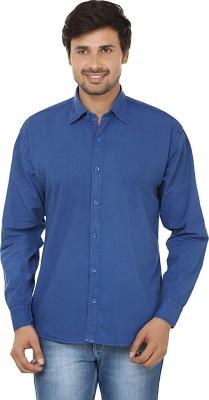 E Spark Men's Solid Casual Blue Shirt