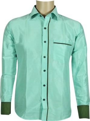 KENRICH Men's Solid Formal, Festive, Casual Green Shirt