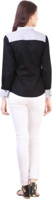 Vvine Women's Solid Party Black Shirt