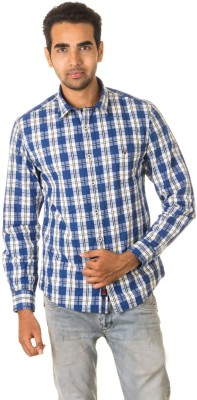 West Vogue Men's Checkered Casual Dark Blue Shirt