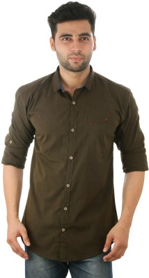 Studio Nexx Men's Solid Casual Dark Green Shirt