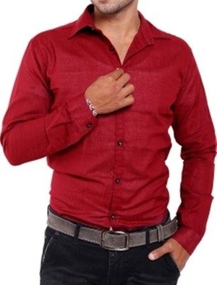 Aaral Men's Solid Casual Maroon Shirt