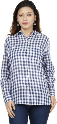Miway Women's Checkered Casual Blue, White Shirt