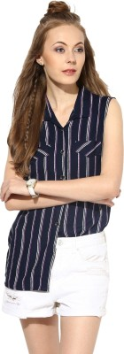 Raindrops Women's Striped Casual Dark Blue, White Shirt