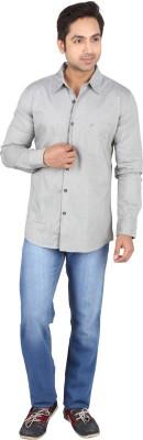 Tasho Zaara Men's Solid Casual Grey Shirt