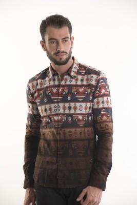Kart & Kriss Men's Printed Casual Brown Shirt