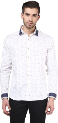 Invern Men's Self Design Casual White Shirt