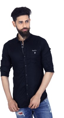 MOZAC Men,s Solid Casual Dark Blue Shirt