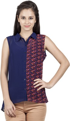 Bkind Women's Printed Casual Red Shirt