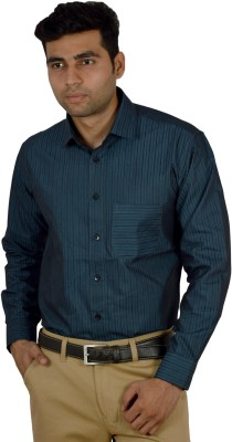 Studio Nexx Men's Striped Formal Blue Shirt
