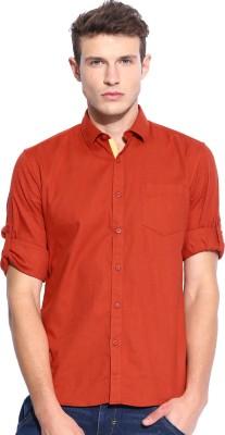 Zavlin Men,s Solid Casual Orange Shirt