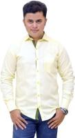 Horse Villa Formal Shirts (Men's) - Horse Villa Men's Solid Formal Yellow Shirt