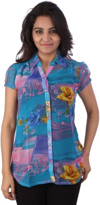 Go4it Women's Printed Casual Blue Shirt