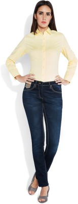 Park Avenue Women,s Solid Formal Yellow Shirt