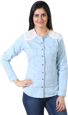 James Scot Women's Solid Casual Denim Blue Shirt
