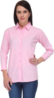 Vestire Women's Solid Casual Pink Shirt