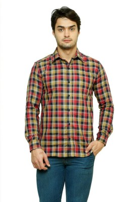 99 Hunts Men's Checkered Casual Red, Brown Shirt