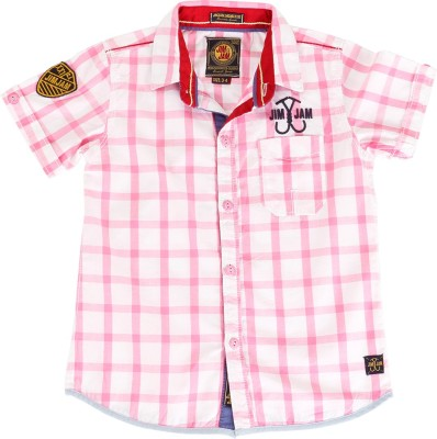Jim & Jam Boy's Checkered Casual Pink Shirt