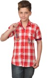 Enntic Boys Checkered Casual Red Shirt