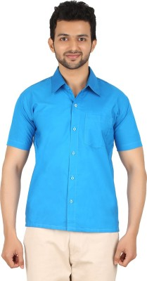 MEENAVISION Men's Solid Formal Blue Shirt
